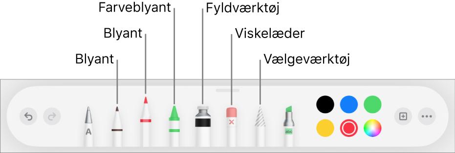 Værktøjslinjen til tegning med kuglepen, blyant, farveblyant, fyldværktøj, viskelæder, vælgeværktøj og felt, der viser den aktuelle farve.
