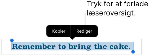 En sætning er valgt, og over den ses en kontekstmenu med knapperne Kopier og Rediger.