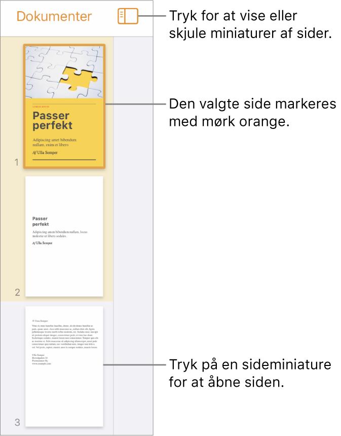 Oversigten Miniaturer af sider i venstre side af skærmen med en side markeret. Over miniaturerne ses knappen Oversigtsvalg.