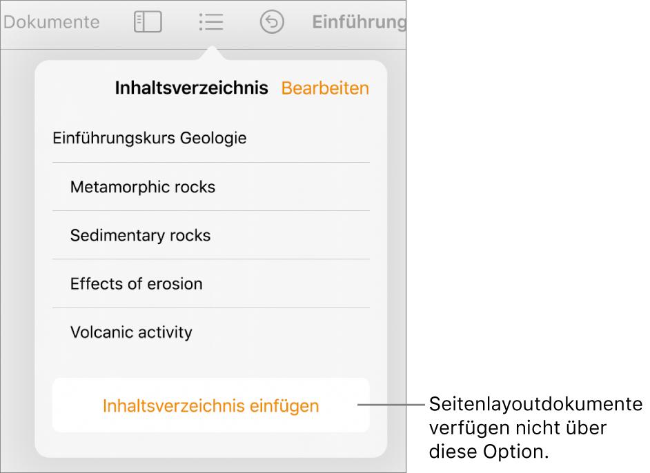 """Die Darstellung """"Inhaltsverzeichnis"""" mit der Taste """"Bearbeiten"""" in der oberen rechten Ecke, den Einträgen des Inhaltsverzeichnisses und der Taste """"Inhaltsverzeichnis einfügen"""" ganz unten."""