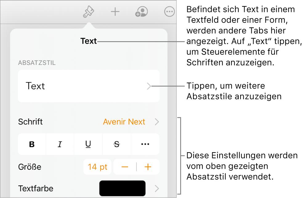 """Das Menü """"Format"""" mit Textsteuerelementen zum Festlegen von Absatz- und Zeichenstilen, Schrift, Größe und Farbe"""