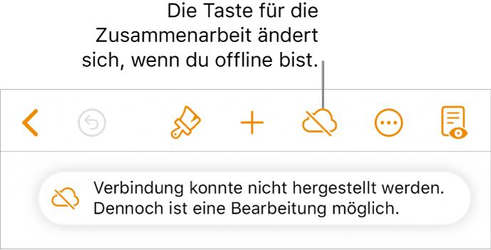"""Die Tasten oben auf dem Bildschirm, darunter die Taste """"Zusammenarbeiten"""", ändern sich und werden als mit einer diagonalen Linie durchgestrichenen Wolke dargestellt. Ein Hinweis auf dem Bildschirm besagt, dass du offline bist, aber weiterhin arbeiten kannst."""