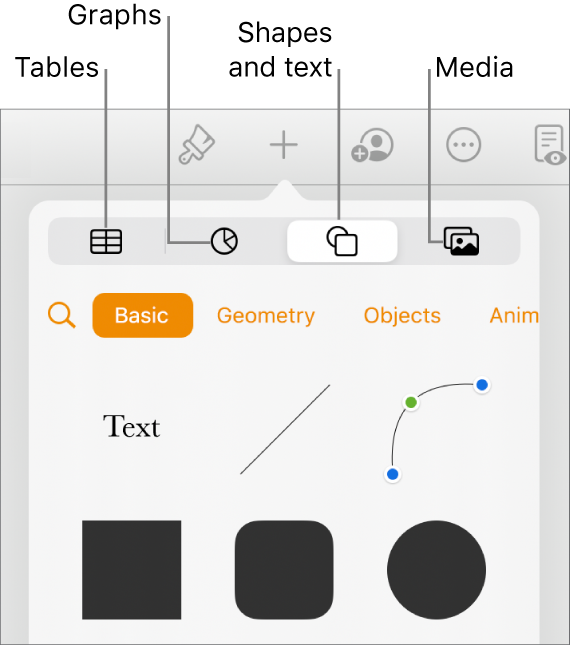 The controls for adding an object, with buttons at the top to select tables, graphs, shapes (including lines and text boxes), and media.