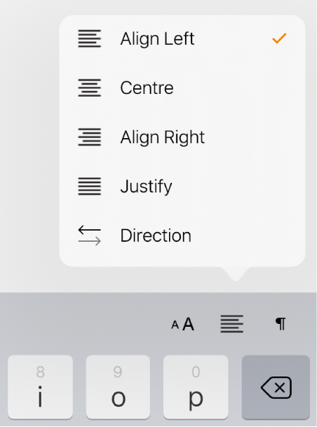 The Format bar with controls for indenting text and aligning paragraphs.
