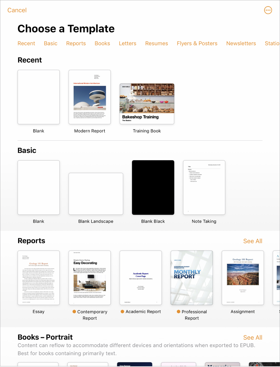 The template chooser, showing a row of categories across the top that you can tap to filter the options. Below are thumbnails of pre-designed templates arranged in rows by category, starting with Recent at the top and followed by Basic and Reports. A See All button appears above and to the right of each category row. The Language and Region button is in the top-right corner.