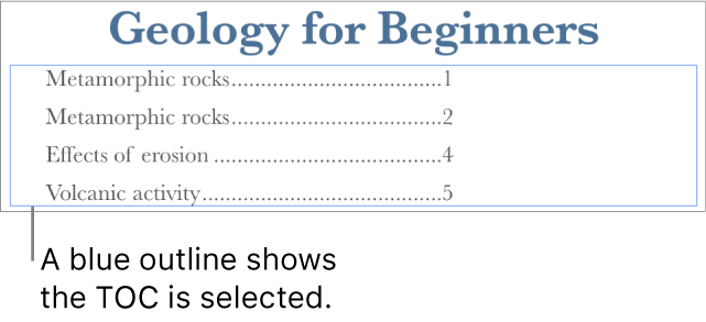 A table of contents inserted into a document. Entries show headings along with their page numbers.