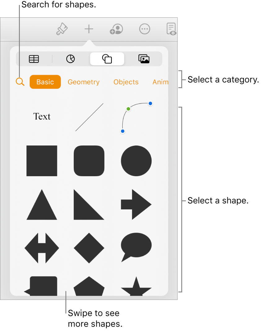 The shapes library, with categories at the top and shapes displayed below. You can use the search button at the top to find shapes and swipe to see more.