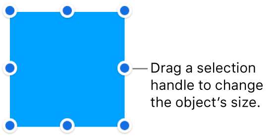 An object with blue dots on its border for changing the object's size.