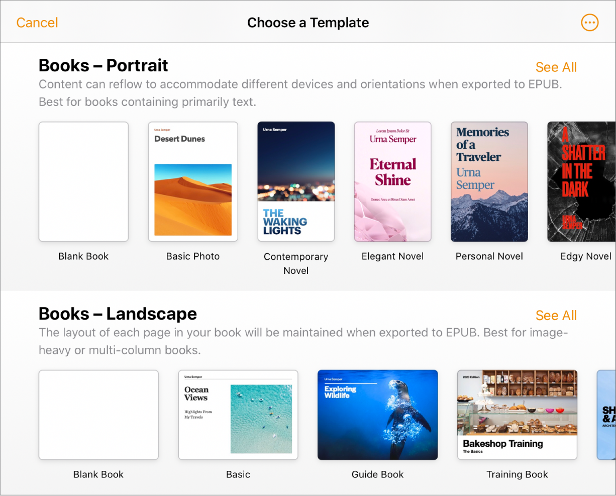 The template chooser with book templates in portrait orientation at the top and landscape orientation below.