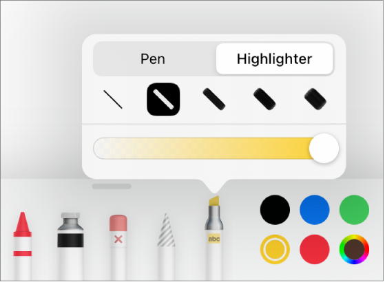 The Smart Annotation tool menu with pen and highlighter buttons, line width options, and the opacity slider.