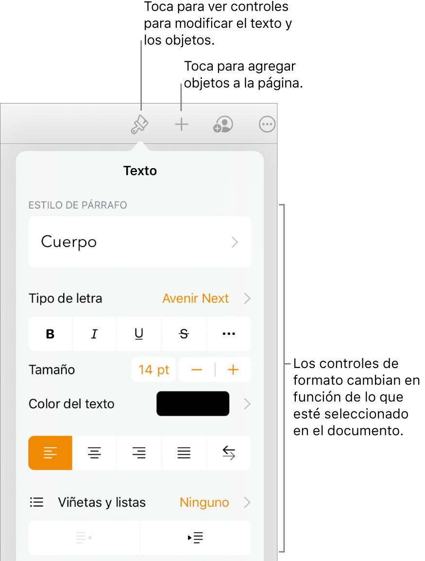 Los controles de formato abiertos con los controles para cambiar el estilo de párrafo, modificar el tipo de letra y dar formato al espaciado del tipo de letra. Se muestra texto que indica el punto superior del botón Formato en la barra de herramientas y a su lado derecho el botón Insertar para agregar objetos a la página.