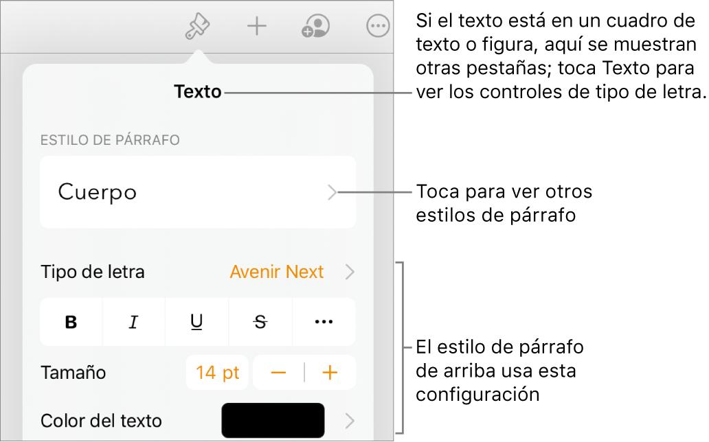 El menú Formato mostrando los controles de texto para configurar los estilos de párrafo y carácter, tipo de letra, tamaño y color.