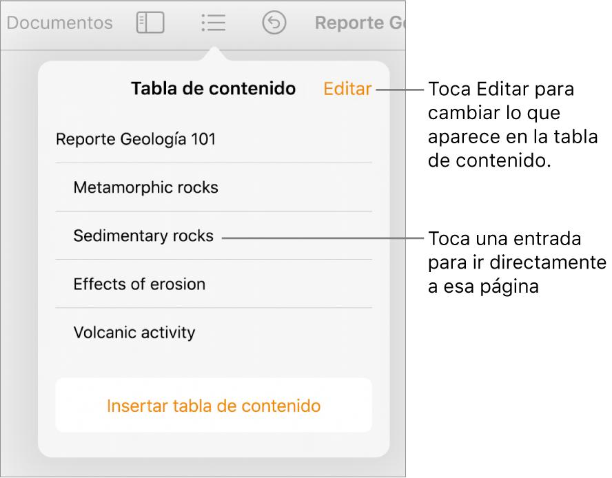 La visualización de la tabla de contenido con sus elementos en una lista. El botón Edición se encuentra en la esquina superior derecha.