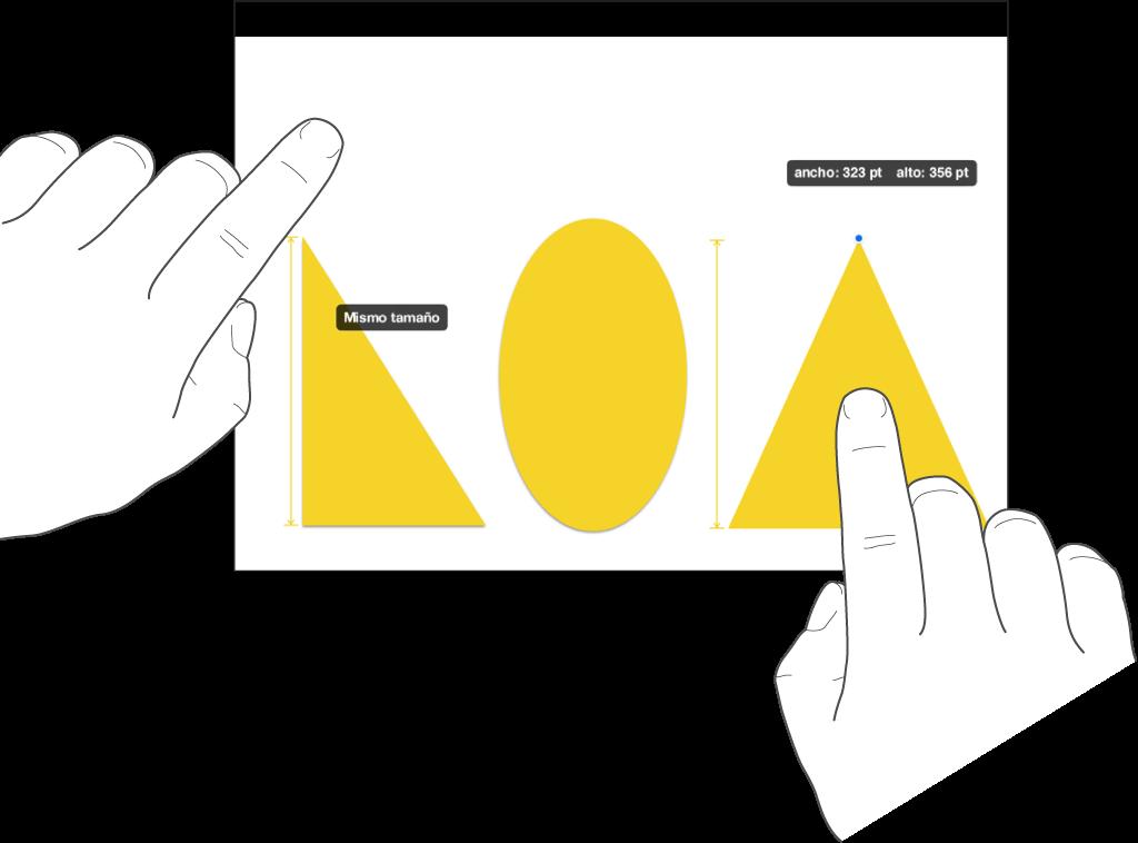 """Un dedo justo encima de una figura y otro dedo manteniendo presionado un objeto con las palabras """"Mismo tamaño"""" en la pantalla."""