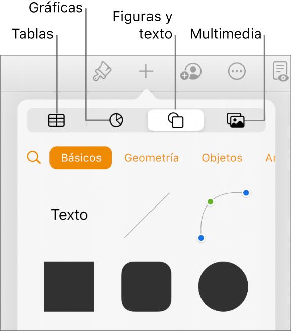 Se abren los controles Insertar con botones para agregar tablas, gráficas, texto, figuras y contenidos en la parte superior.