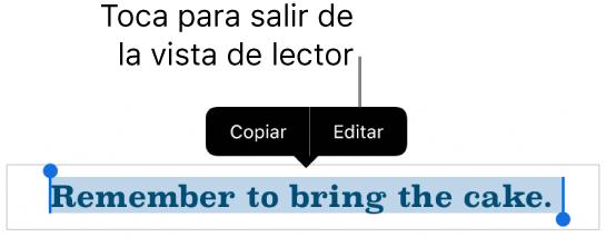 Se selecciona una oración y arriba hay un menú contextual con los botones Copiar y Editar.