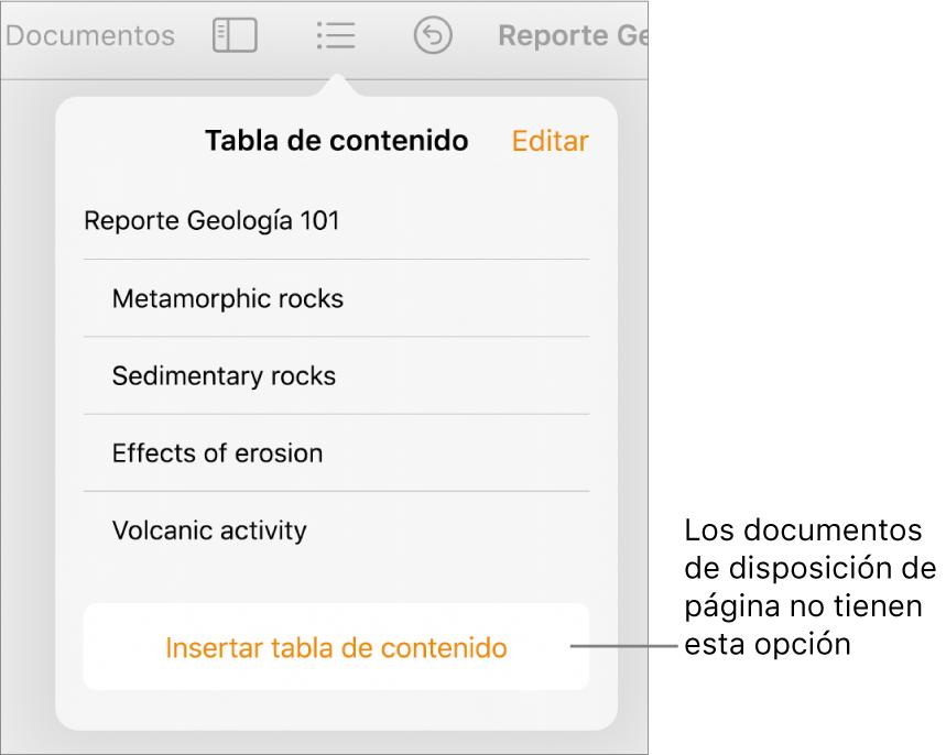 """La visualización de la tabla de contenido con la opción Editar en la esquina superior derecha, las entradas de la tabla de contenido y el botón """"Insertar tabla de contenido"""" en la parte inferior."""