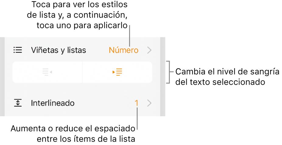 """Los controles de formato con llamadas al menú """"Viñetas/listas"""", a los botones de sangría y a los controles de interlineado."""