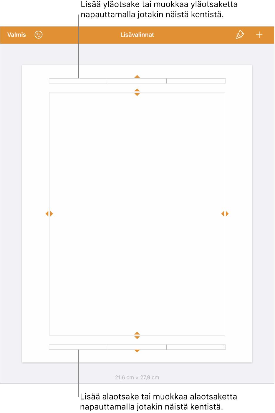 Lisävalinnat-näkymä, jossa kolme kenttää dokumentin yläreunassa yläotsakkeita varten ja kolme kenttää alareunassa alaotsakkeita varten.