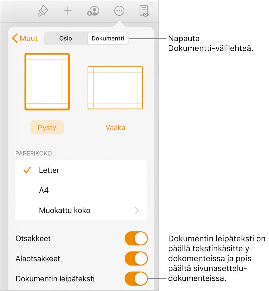 Dokumentin muotosäätimet, joissa on Dokumentin leipäteksti päällä näytön alareunassa.