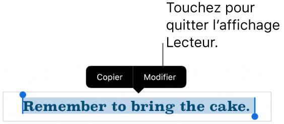 Une phrase est sélectionnée et au-dessus de celle-ci se trouve un menu contextuel avec les boutons Copier et Modifier.
