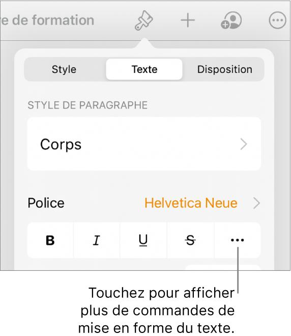 L'onglet Texte des commandes Format, avec une légende vers le bouton «Plus d'options de texte».