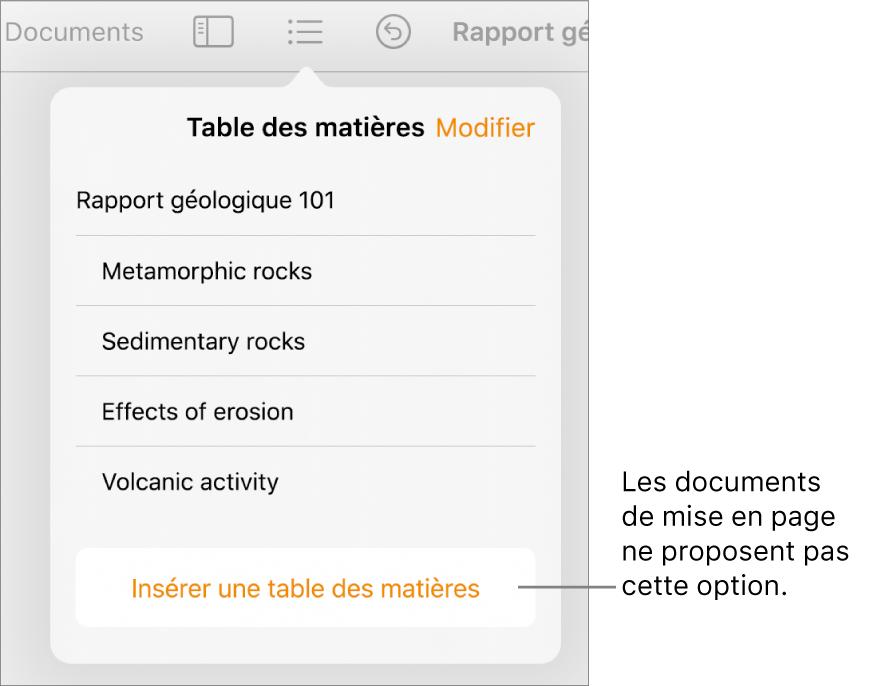 La présentation de la table des matières avec l'option Modifier dans le coin supérieur droit, les entrées de la table des matières et le bouton «Insérer une table des matières» en bas.