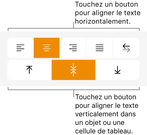 Boutons d'alignement horizontal et vertical pour le texte.