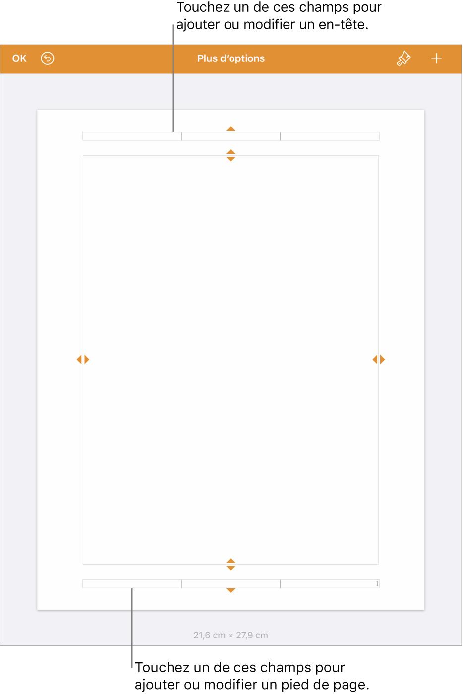La présentation «Plus d'options» avec trois champs en haut du document pour les en-têtes et trois champs en bas du document pour les pieds de page.