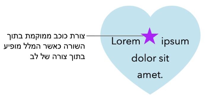 צורת כוכב מוצגת בתוך השורה עם מלל בתוך צורת לב.