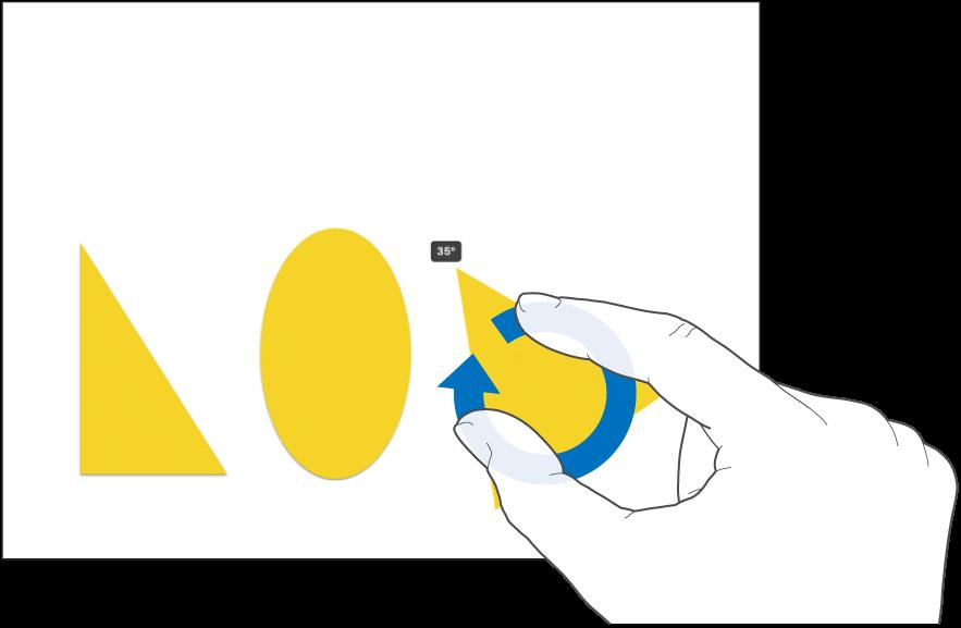 ऑब्जेक्ट को घुमाती दो उँगलियाँ।
