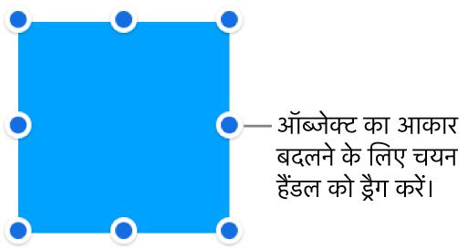 ऑब्जेक्ट के आकार को बदलने के लिए बॉर्डर पर नीले बिंदुओं वाला ऑब्जेक्ट।