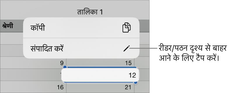 कोई तालिका सेल चुना हुआ है और ऊपर यह एक मेनू है, कॉपी करें और संपादित करें बटन के साथ।
