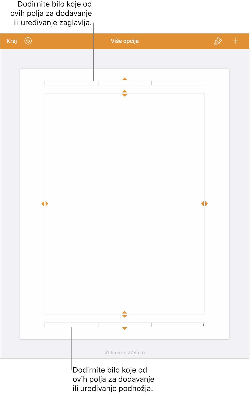 Prikaz Više opcija s tri polja pri vrhu dokumenta za zaglavlja i tri polja pri dnu za podnožja.