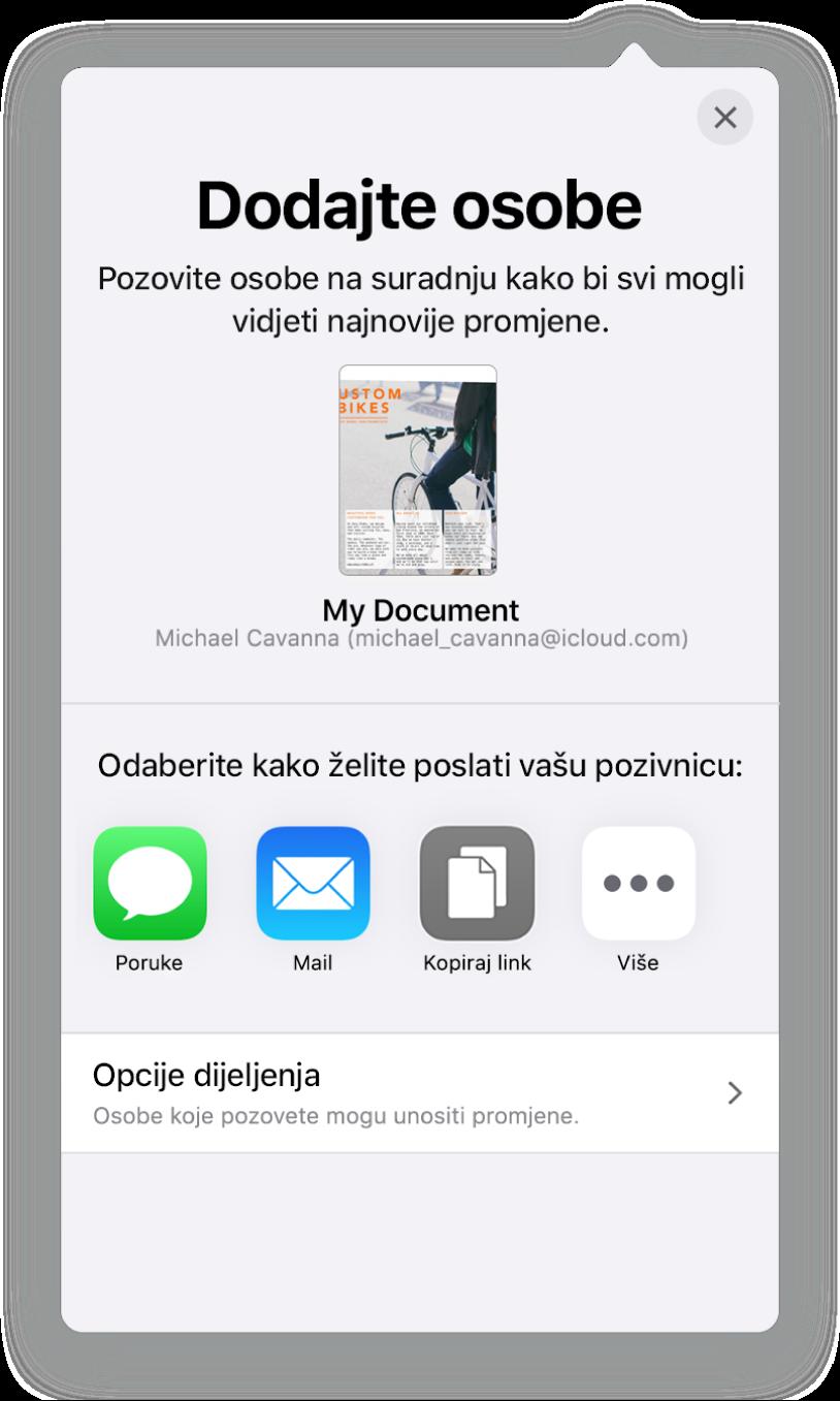 Zaslon Dodaj osobe prikazuje sliku dokumenta koji se dijeli. Ispod njega nalaze se tipke za načine slanja pozivnice, uključujući Mail, Kopiraj link i Ostalo. Na dnu se nalazi tipka Opcije dijeljenja.