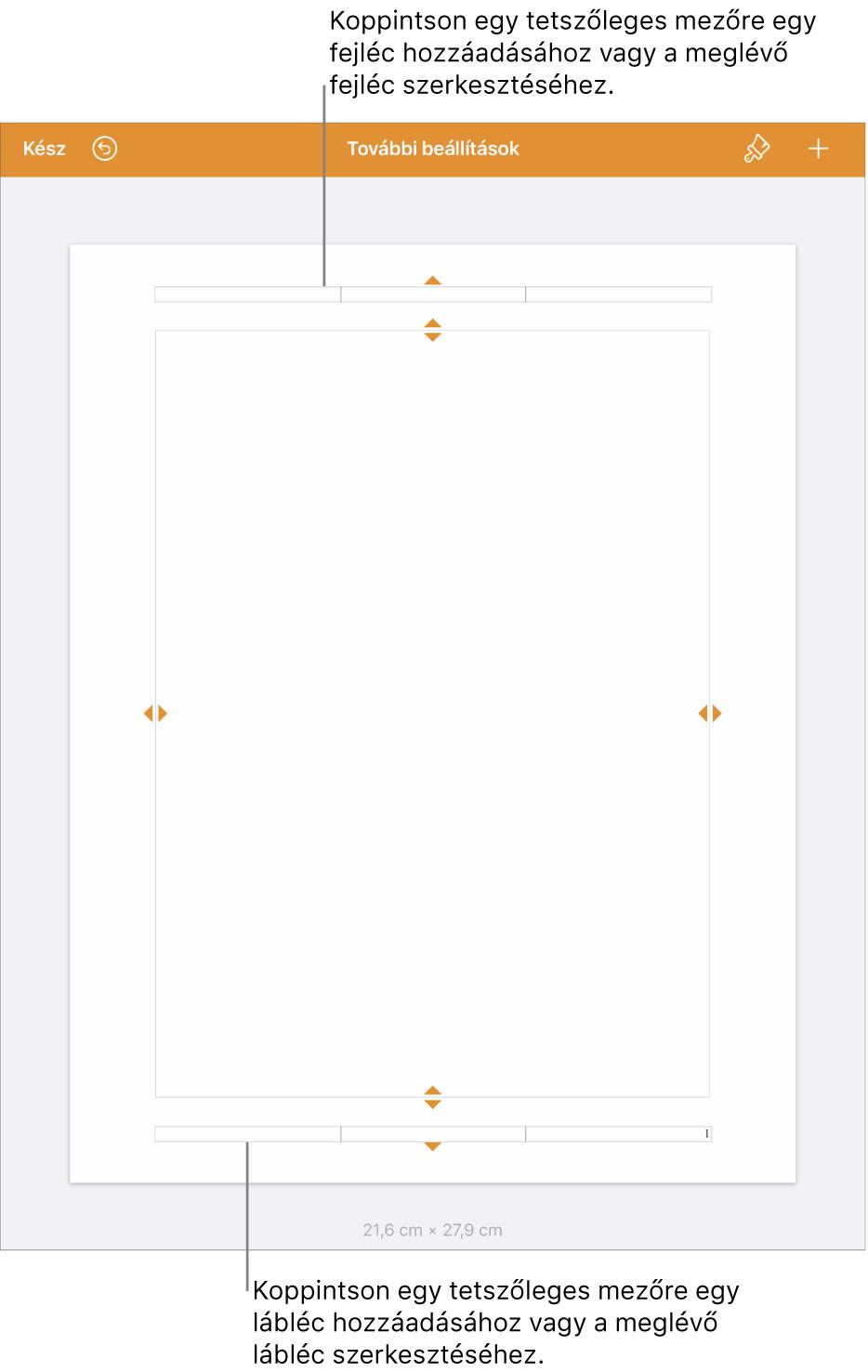 A További beállítások nézet három fejléc mezővel a lap tetején és három lábléc mezővel a lap alján.
