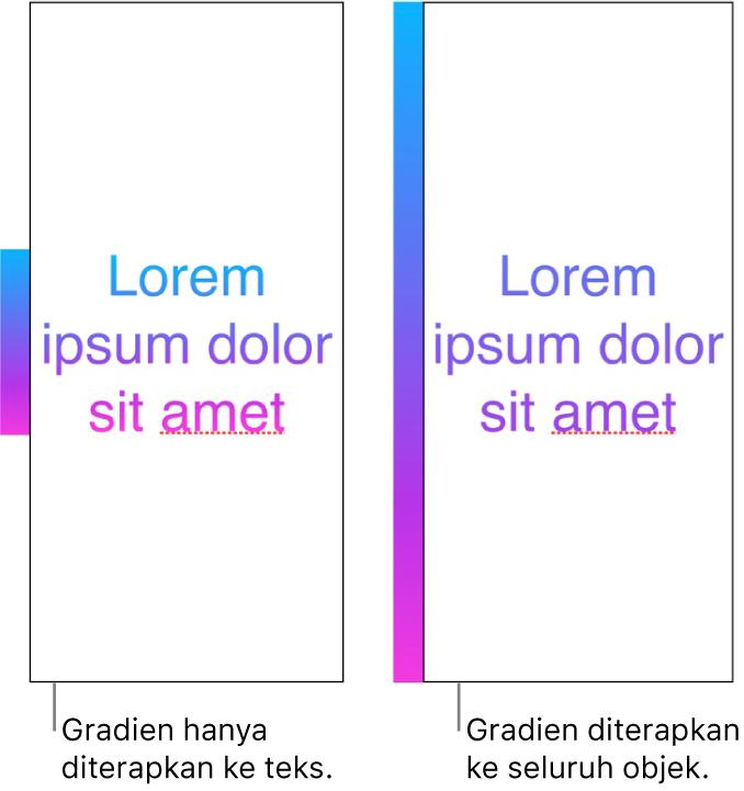 Contoh berdampingan. Contoh pertama menampilkan teks dengan gradien yang hanya diterapkan ke teks, sehingga seluruh warna spektrum ditampilkan di teks. Contoh kedua menampilkan teks lain dengan gradien yang diterapkan ke seluruh objek, sehingga hanya sebagian spektrum warna yang ditampilkan di teks.