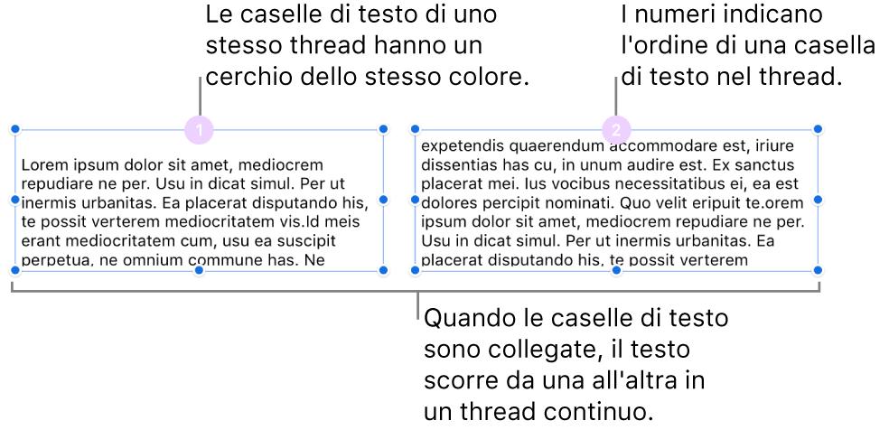 Due caselle di testo con cerchi viola nella parte superiore e i numeri 1 e 2 nei cerchi.