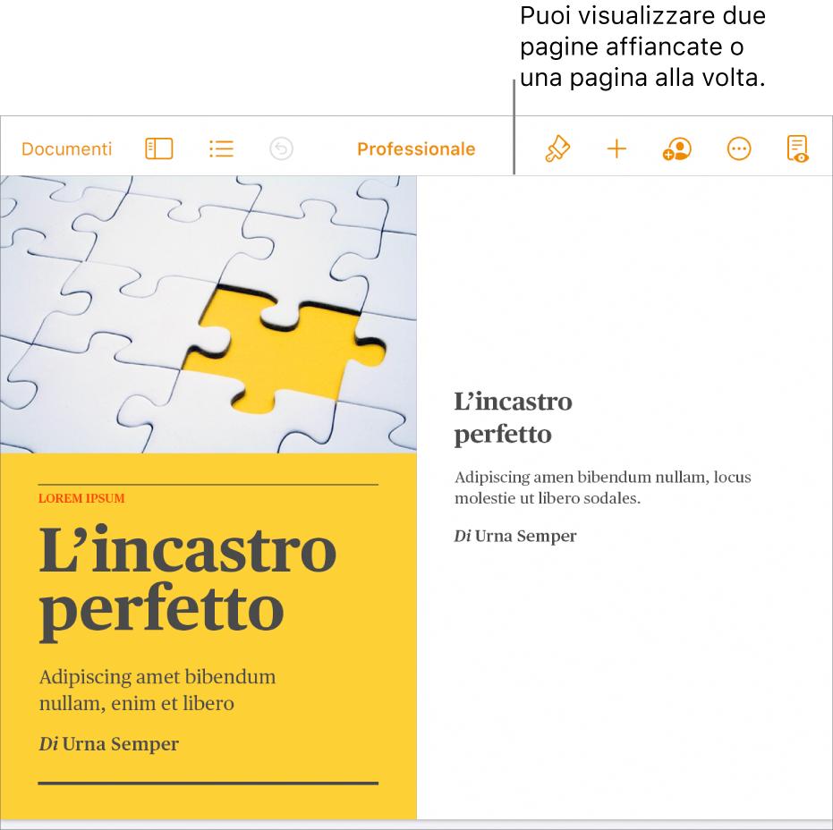 Un documento con le pagine visualizzate come due pagine affiancate.