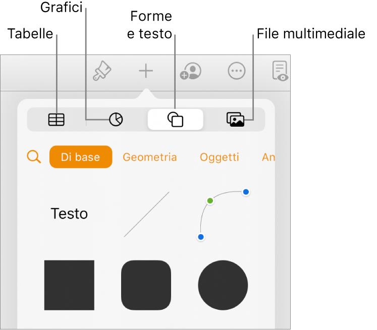I controlli Inserisci con sopra pulsanti per aggiungere tabelle, grafici, testo, forme e file multimediali.