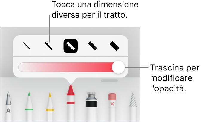 Controlli per scegliere una dimensione tratto e cursore per regolare l'opacità.