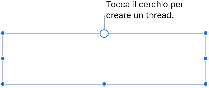 Casella di testo vuota con un cerchio bianco nella parte superiore e maniglie di ridimensionamento negli angoli, sui lati e nella parte inferiore.