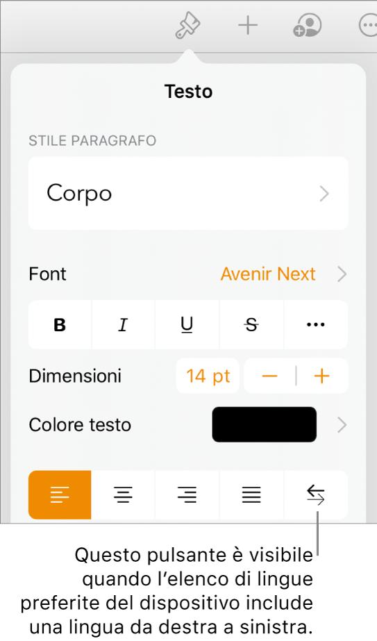 """Controlli del testo nel menu Formato con una didascalia che indica il pulsante """"Da destra a sinistra""""."""