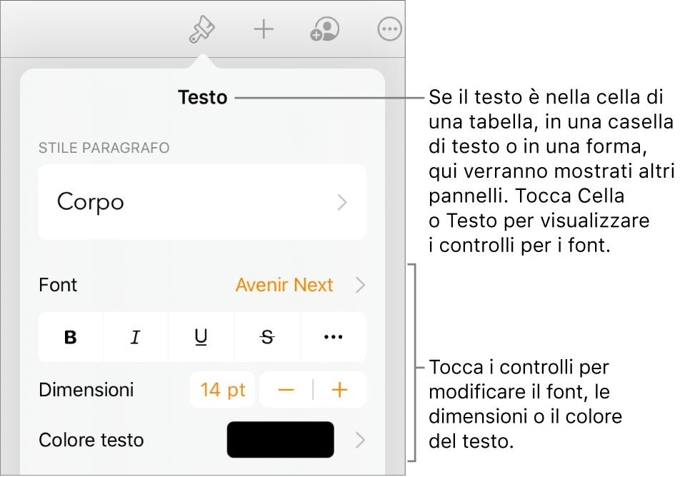 Controlli di testo nel menu Formattazione per impostare stili di carattere e paragrafo, font, dimensione e colore.