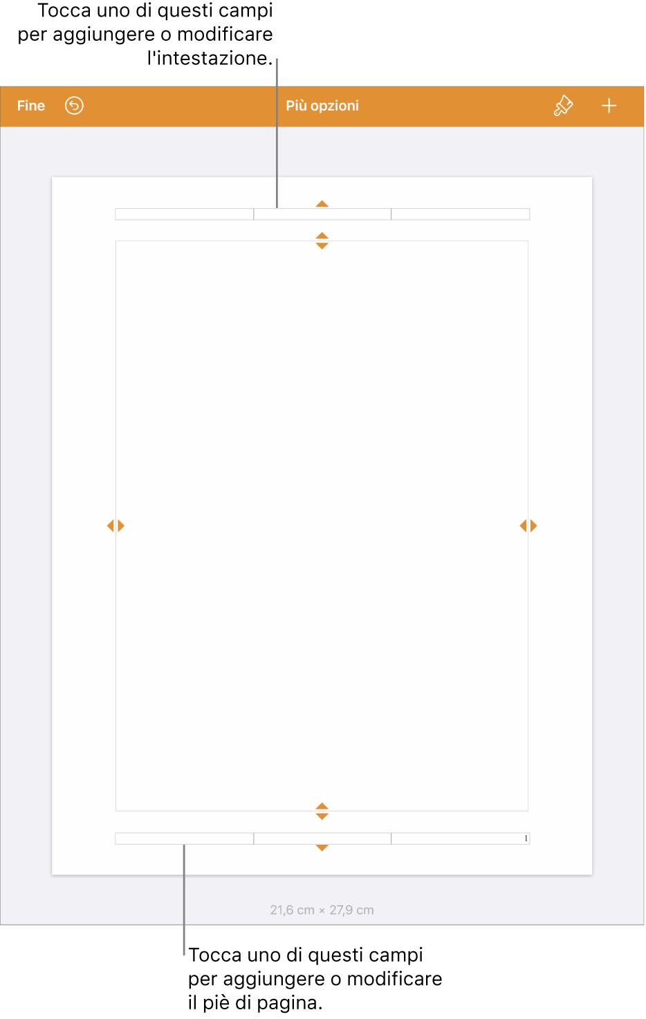 """La vista """"Altre opzioni"""" con tre campi nella parte superiore del documento per le intestazioni e tre campi nella parte inferiore per i piè di pagina."""