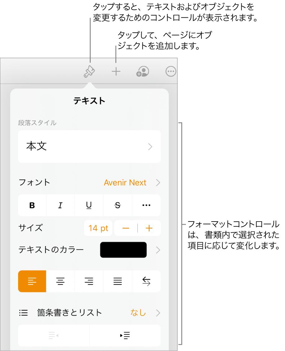 「フォーマット」コントロールが開き、段落のスタイル、フォント、フォントの間隔を変更するためのコントロールが表示された状態。上部にはツールバーの「フォーマット」ボタンを指したコールアウトがあり、その右にはページにオブジェクトを追加するための「挿入」ボタンが表示された状態。