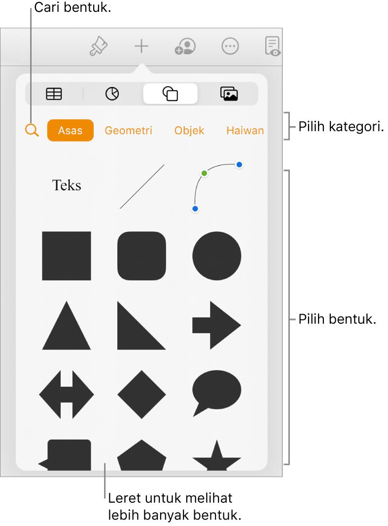 Pustaka bentuk, dengan kategori di bahagian atas dan bentuk dipaparkan di bawah. Anda boleh menggunakan butang carian di bahagian atas untuk mencari bentuk dan leret untuk melihat lebih banyak.