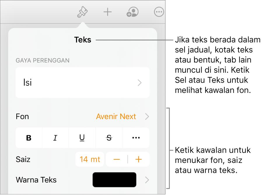 Kawalan teks dalam menu Format untuk mengesetkan perenggan dan gaya, fon, saiz dan warna aksara.