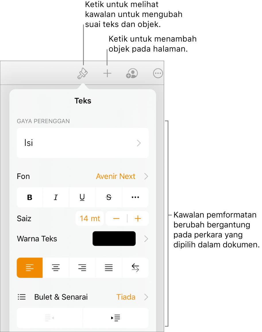 Kawalan Format terbuka dan menunjukkan kawalan untuk menukar gaya perenggan, mengubah suai fon dan memformat jarak fon. Petak bual di bahagian atas menunjukkan butang Format dalam bar alat dan di sebelah kanannya, butang Masukkan untuk menambah objek pada halaman.