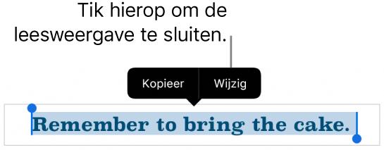 Er is een zin geselecteerd en erboven staat een contextueel menu met de knoppen 'Kopieer' en 'Wijzig'.